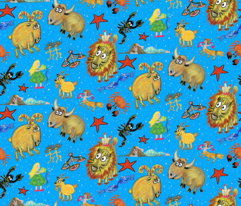 zodiac astrological sun signs astrology, large scale, blue rainbow colorful fabric by amy_g on Spoonflower - custom fabric