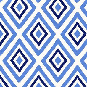 geometric diamonds - blue