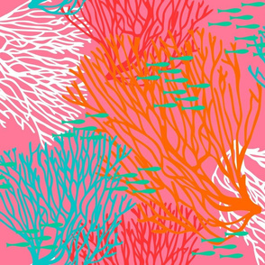 Colorful Coral & Fish on Bright Pink