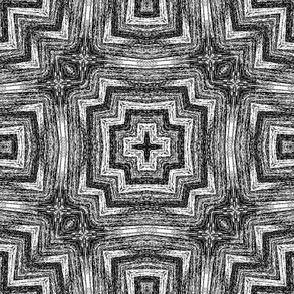 Bargello in black and white geo.
