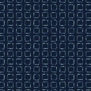 Hand Drawn Squared Check Pattern Indigo