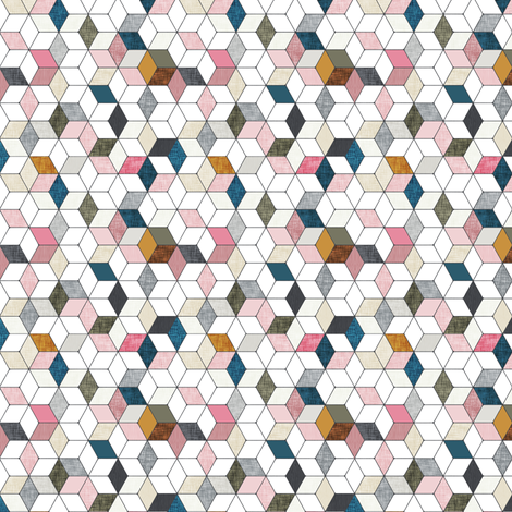 Hexo (pink) MICRO fabric by nouveau_bohemian on Spoonflower - custom fabric