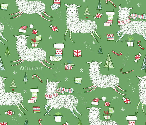 Falala llama - © Lucinda Wei fabric by lucindawei on Spoonflower - custom fabric
