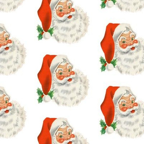 Jolly Retro Santa on white background
