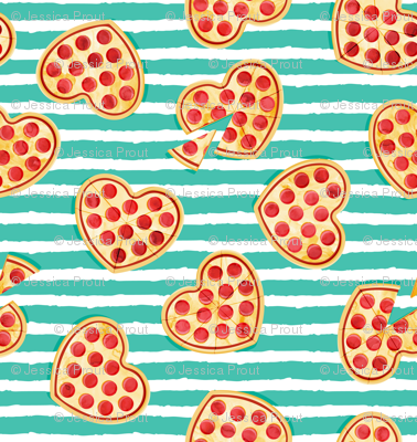 (micro scale) heart shaped pizza - valentines day - teal stripes C18BS