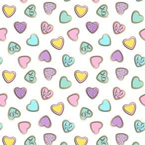 (micro scale) heart sugar cookies - valentines - pastel toss C18BS