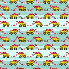 (micro scale) tons of love - valentines day trucks with hearts -  teal stripes C18BS