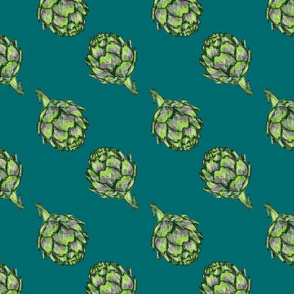 Artichoke pattern - teal background