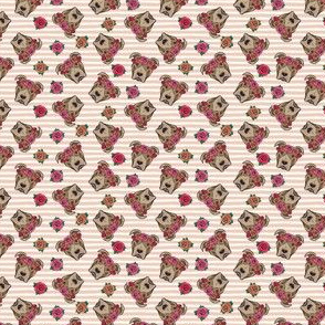 (micro scale) pit bulls - floral crowns - blush stripes C18BS