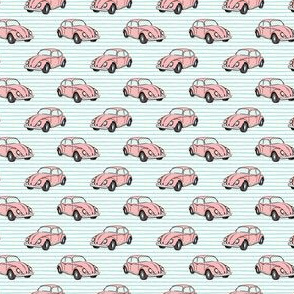 (micro scale) pink bugs - (aqua stripe) beetle car C18BS