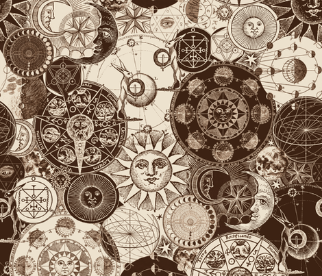 Alchemical Astrology Sepia fabric by xoxotique on Spoonflower - custom fabric