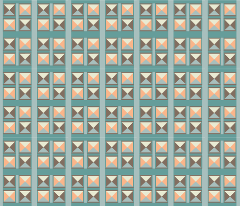 Shaded Squares Coral Aqua fabric by faithdesigns on Spoonflower - custom fabric
