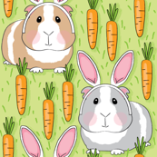 bunny guinea-pigs-with-carrots-on-green