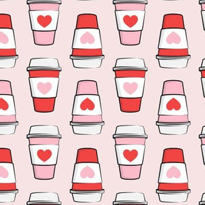 Coffee cups - hearts - valentines day - stacked on pink