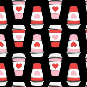 Coffee cups - hearts - valentines day - stacked on black