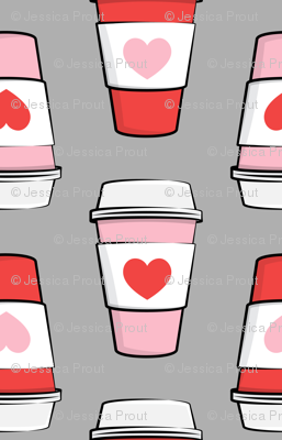 Coffee cups - hearts - valentines day - stacked on grey