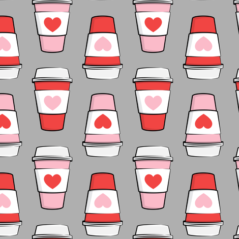 Coffee cups - hearts - valentines day - stacked on grey fabric by littlearrowdesign on Spoonflower - custom fabric