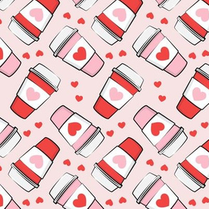 Valentines Coffee - coffee cups on pink