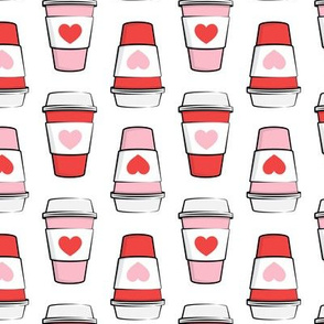 Coffee cups - hearts - valentines day - stacked on white