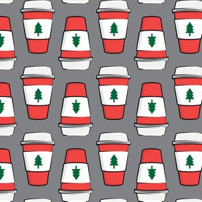 Coffee cups - trees - Christmas - stacked on grey