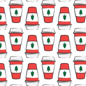 Coffee cups - trees - Christmas - stacked on white