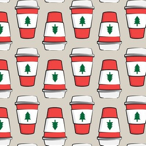 Coffee cups - trees - Christmas - stacked on beige