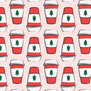 Coffee cups - trees - Christmas - stacked on pink