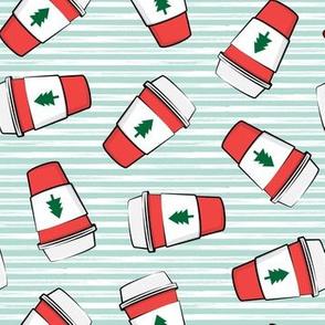 Coffee cups - trees - Christmas coffee - on mint stripes