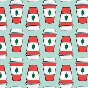 Coffee cups - trees - Christmas - stacked on mint