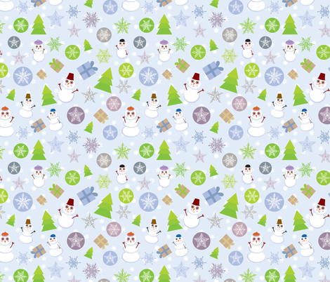 Merry Christmas, green, lilac, blue and purple fabric by ekaterinap on Spoonflower - custom fabric