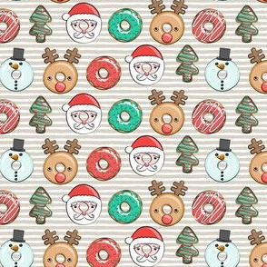 (small scale) Christmas donuts - Santa, Christmas tree, reindeer - beige stripes C18BS