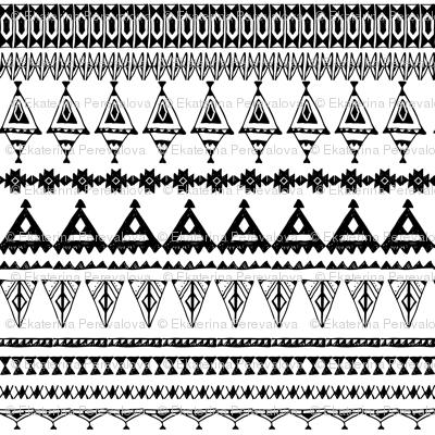 native zigzag ornaments. Hand drawn ethnic border.