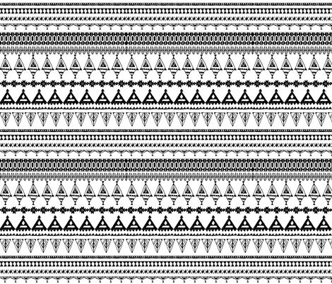 native zigzag ornaments. Hand drawn ethnic border.  fabric by ekaterinap on Spoonflower - custom fabric