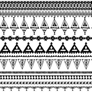 native zigzag ornaments. Hand drawn ethnic border.