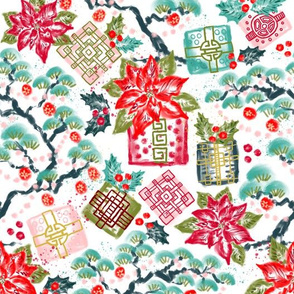 Christmas Pines & Gifts Chinoiserie