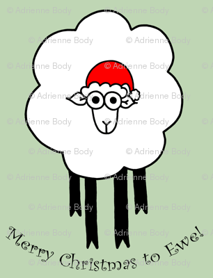 Merry Christmas To Ewe - sheep with santa hat