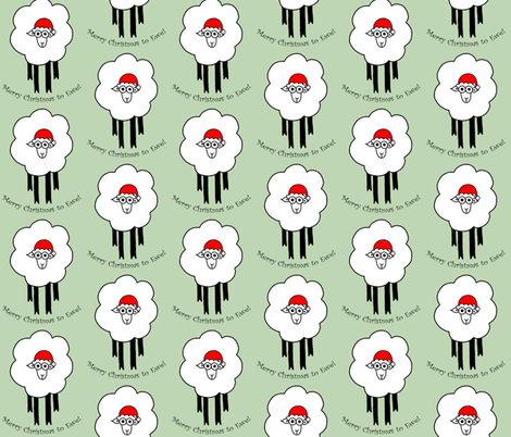 Merry Christmas To Ewe - sheep with santa hat fabric by adriennebody on Spoonflower - custom fabric