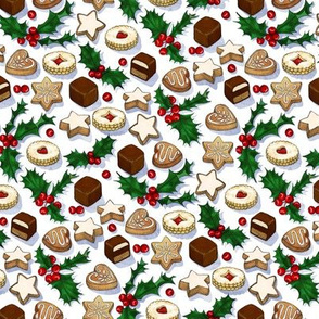 Traditional Christmas Cookies with Holly Berries extra small print