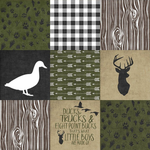 Ducks & Trucks//Green, Black, & Tan - Wholecloth Cheater Quilt