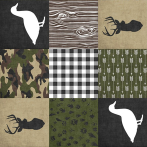 Ducks & Trucks//Black, Green & Tan - Wholecloth Cheater Quilt -