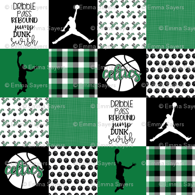 Basketball//Celtics - Wholecloth Cheater Quilt