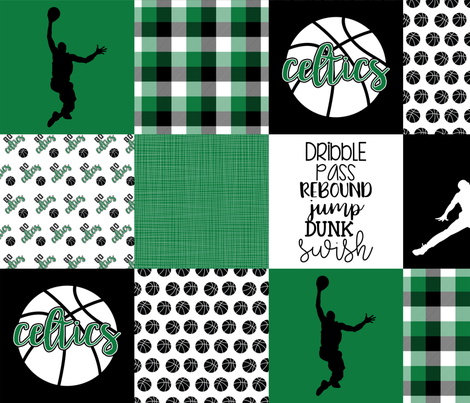 Basketball//Celtics - Wholecloth Cheater Quilt fabric by longdogcustomdesigns on Spoonflower - custom fabric