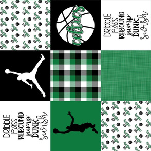 Basketball//Celtics - Wholecloth Cheater Quilt - Rotated