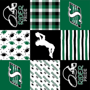 Football//Rider Pride - Wholecloth Cheater Quilt - Rotated