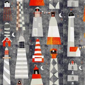 scandi lighthouses noir - large
