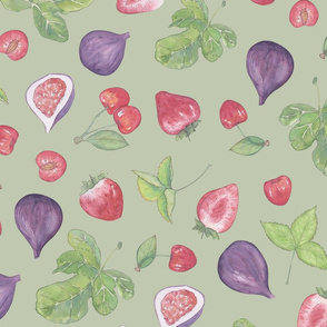summer fruit scatter pattern on green - large