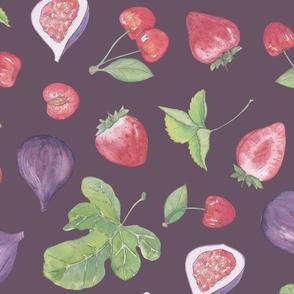 summer fruit scatter pattern on plum - large