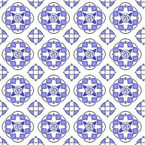 Dollhouse Quilt / Blue & White