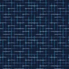 Hand Drawn Check Pattern Indigo Blue Grunge Grid