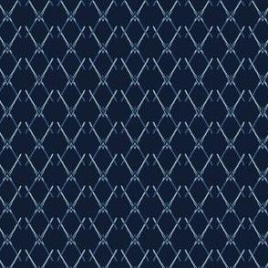 Indigo Pattern Cross Net Hand Drawn